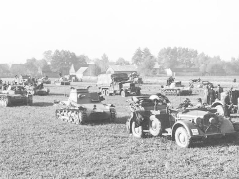Koncentracja niemieckiego pododdziału pancernego na pograniczu polsko-niemieckim.