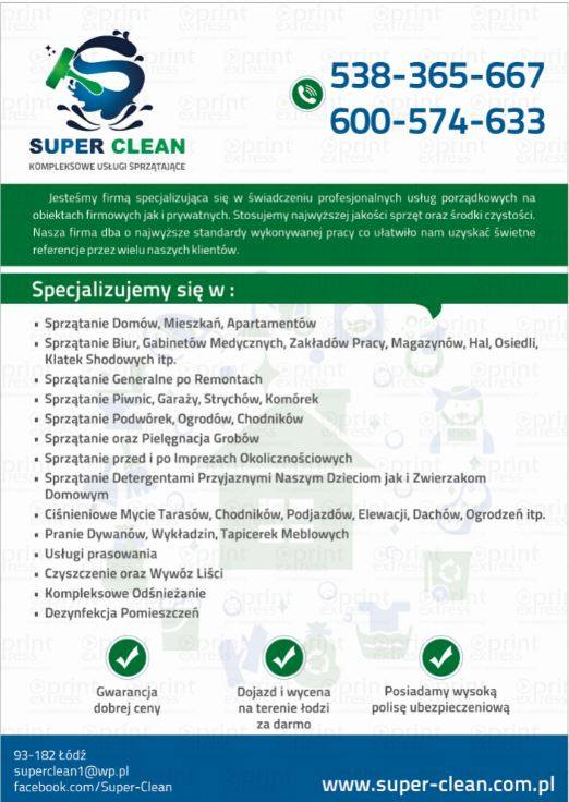 Super - Clean !! (kompleksowe usługi Sprzątające)