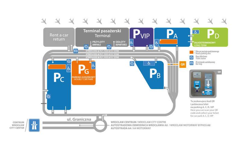 Tak usytuowane są parkingi dla pasażerów wrocławskiego portu lotniczego