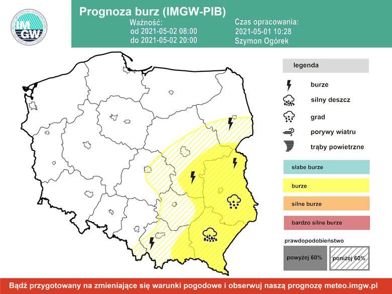 Pogoda na majówkę 2021. IMGW ostrzega: Burze z silnym wiatrem i ulewnym deszczem. Lokalnie grad