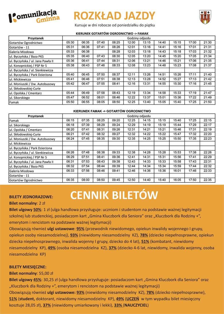 Rozkład jazdy autobusu miejskiego w Kluczborku.
