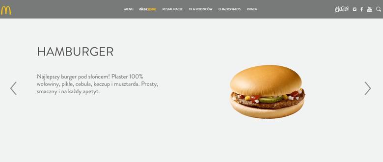Hamburger według sieci McDonald's