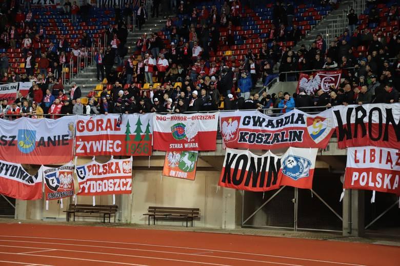 Kibice na meczu Łotwa - Polska