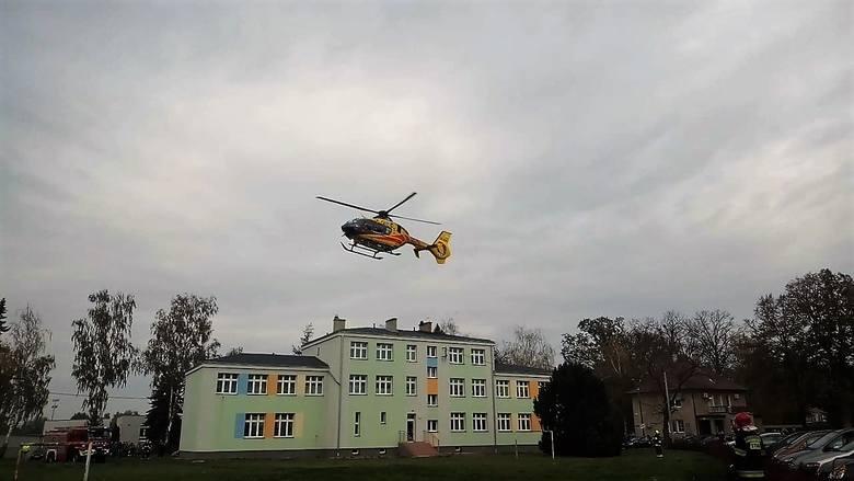 Śmigłowiec lądował w Wołczynie, by zabrać poparzone dziecko do USK w Opolu