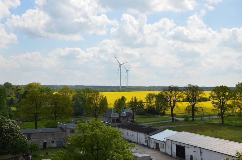 Nad wsią Lubanice górują wiatraki.