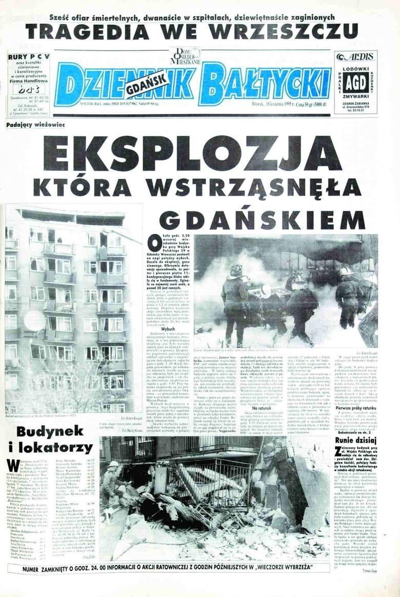 Rocznica wybuchu gazu w wieżowcu w Gdańsku. W tragedii przy ul. Wojska Polskiego zginęły 22 osoby. To było 26 lat temu [zdjęcia, wideo]