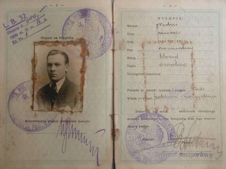 Dowód osobisty Wacława Jurkojcia, wydany w Trokach