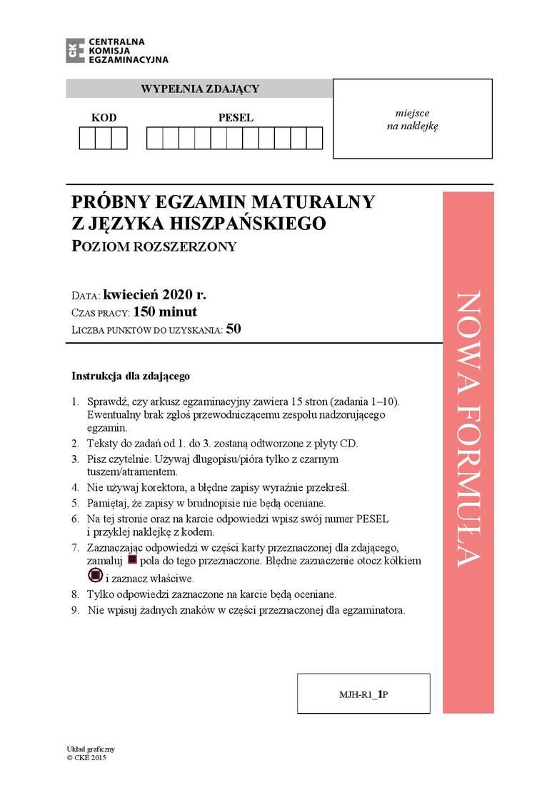 MATURA PRÓBNA 2020: Język hiszpański - poziom rozszerzony. Zobacz arkusz maturalny z 6 kwietnia i klucz odpowiedzi z 15 kwietnia 2020 r.
