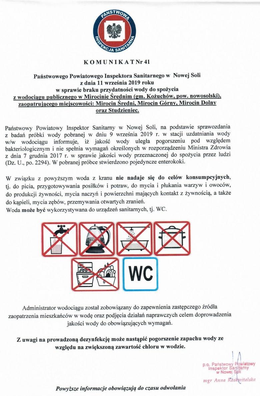 Komunikat sanepidu w sprawie jakości wody w gm. Kożuchów