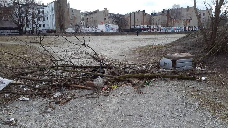 Centrum handlu dopalaczami na Bałutach - gałęzie i śmieci rozrzucono,  by nie mogły dojechać radiowozy