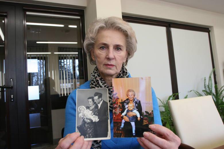 Teresa Skierka ze zdjęciem, prawdopodobnie, siostry i jej przybranych rodziców. Obok mama Teresy z wnuczką