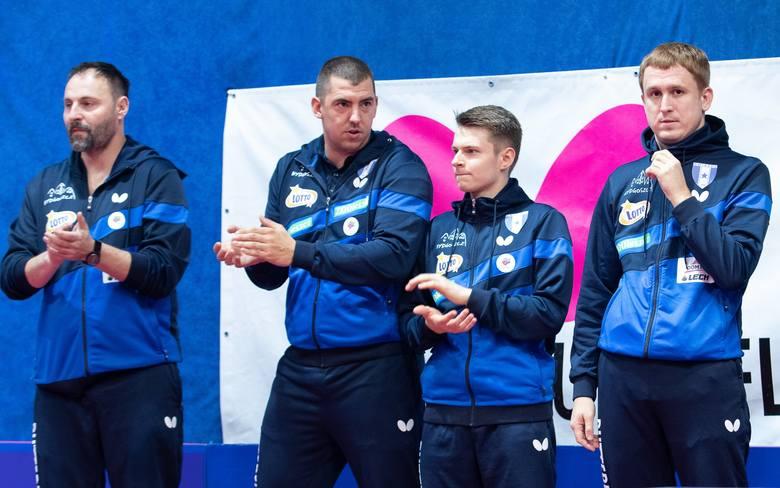 Od lewej: menedżer Zbigniew Leszczyński, Patryk Jendrzejewski, Artur Grela i Wiaczesław Burow