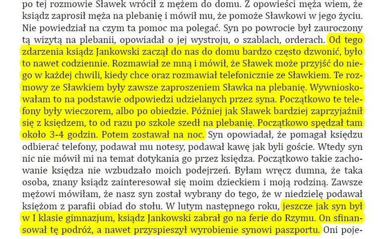 Fragmenty zeznań matki Sławka. Zanim zdecydowała się powiedzieć w sądzie i prokuraturze o sytuacji na plebanii bezskutecznie interweniowała u prałata
