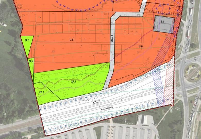 """Pierwsza wersja planu """"Czyżyny-AWF"""" z mniejszym obszarem zieleni"""
