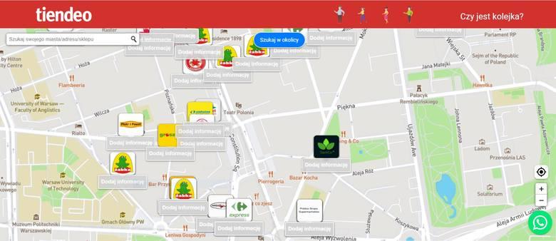 Na mapie od Tiendeo.pl można sprawdzić i dodać informacje na temat kolejek do sklepów.