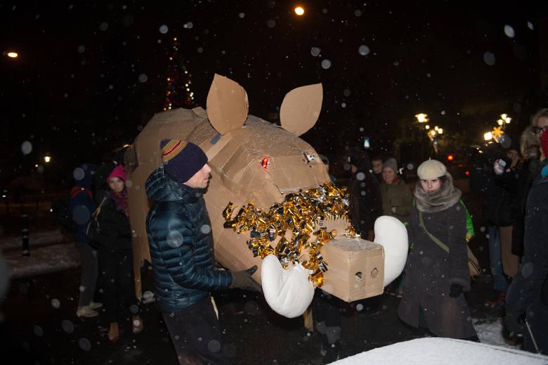 Protest przeciw odstrzałowi dzików pod Sejmem (9/01/2019)