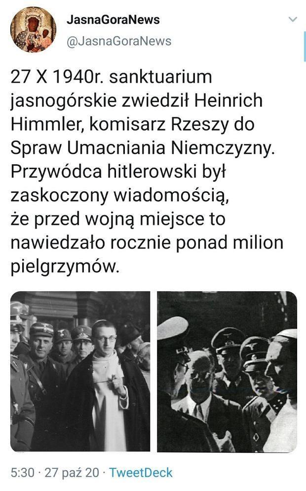 Jasna Góra pochwaliła się 80. rocznicą odwiedzin Heinricha Himmlera. Wpis szybko zginął z profilu, a klasztor przeprosił