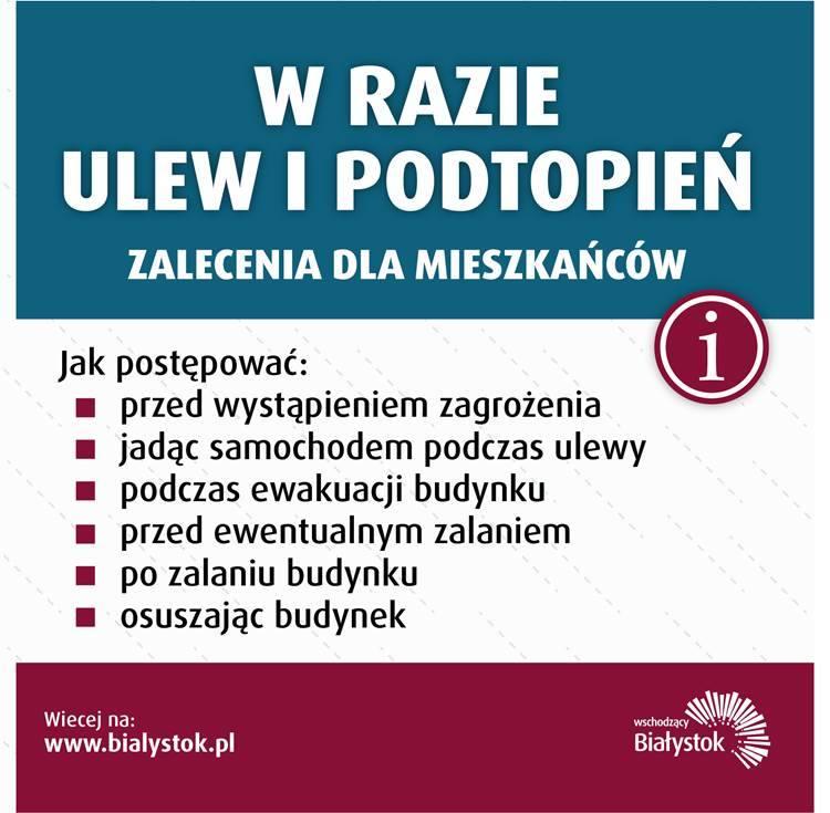 Białystok: Ostrzeżenie przed intensywnymi burzami. Mieszkańcom miejsc zagrożonych podtopieniami powinni zaopatrzyć się w worki z piaskiem