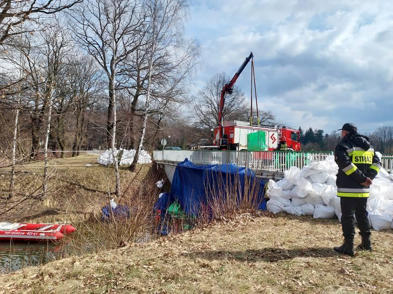 Ćwiczenia strażaków z Chorzowa na Kanale Regatowym w Parku Śląskim