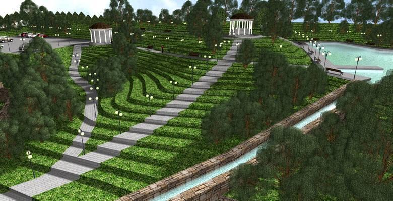 Tak pokazano nowy park na wizualizacjach z 2010 roku. Obecne koncepcje są podobne, ale już bez betonowych elementów. Nie będzie także parkingu na stoku,