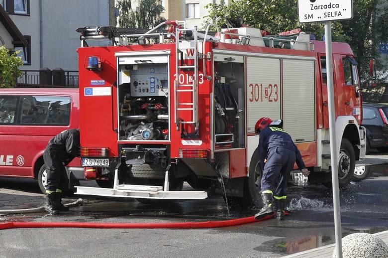 Pożar czteropiętrowego domu w Szczecinie