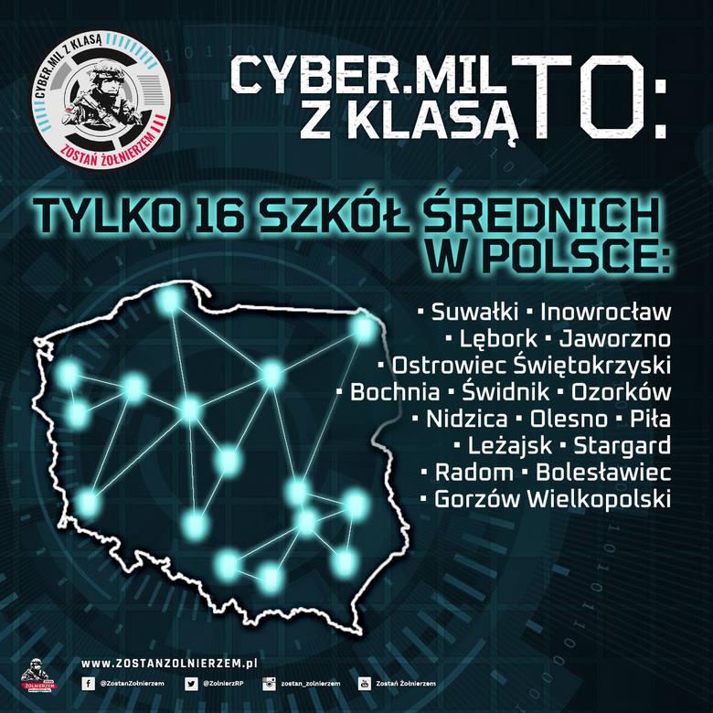 Plakat, informujący o projekcie CYBER.MIL z KLASĄ.