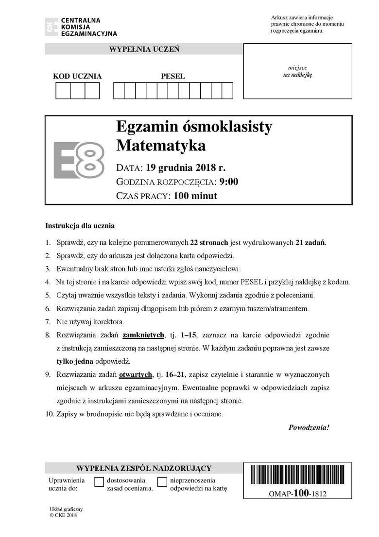Próbny Egzamin Ósmoklasisty 2018. MATEMATYKA - arkusze zadań i klucz odpowiedzi
