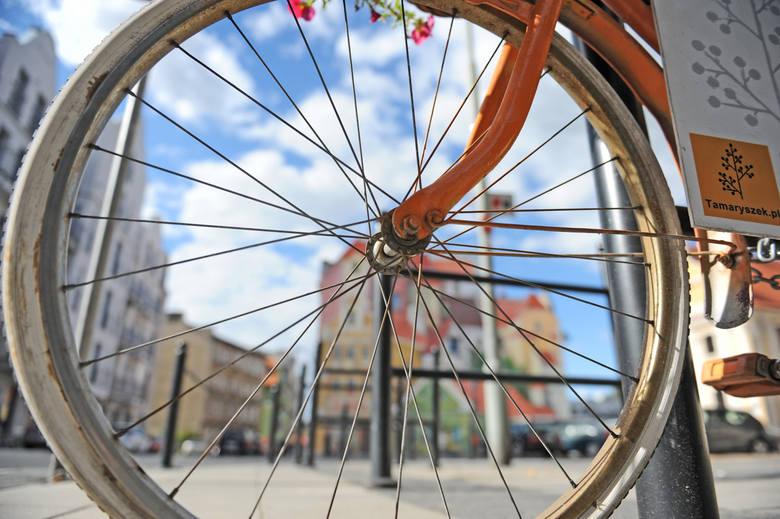 """Na rowerze jest reklama. Jak na muralu. Ale to pewnie drugi najczęściej fotografowany z nowych """"zabytków"""" Śródki."""