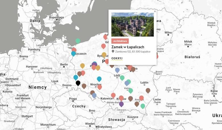 Pomorskieatrakcje turystyczne na interaktywnej mapie National Geographic. Wyróżniono zamek w Łapalicach i most w Tczewie