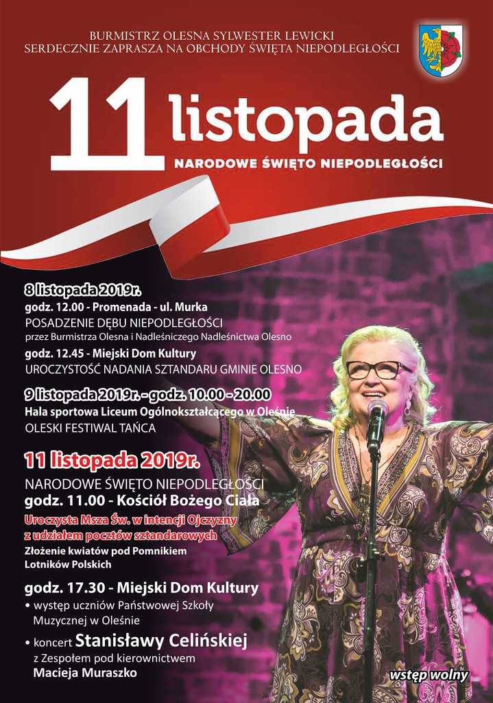 Program uroczystości w Oleśnie.