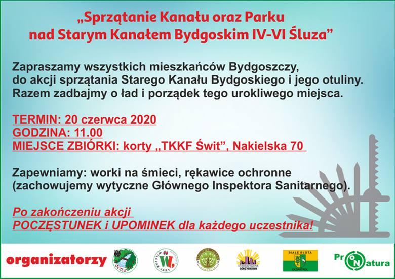 """Podejmij wyzwanie """"Czysta Bydgoszcz"""" nad Starym Kanałem Bydgoskim. Sprzątanie w sobotę, 20 czerwca"""