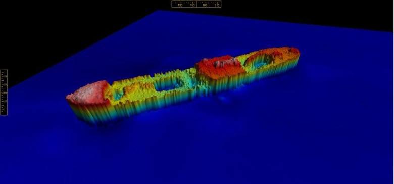 Obraz batymetryczny domniemanego wraku parowca s/s KARLSRUHE, które zostały uzyskane na podstawie pomiarów hydrograficznych Urzędu Morskiego w Gdyni