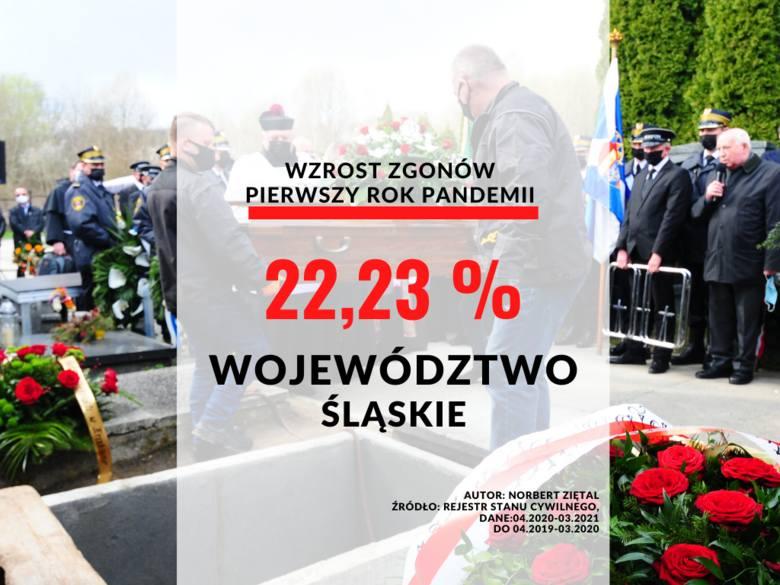 Województwo śląskie: wzrost o 22,23 proc.