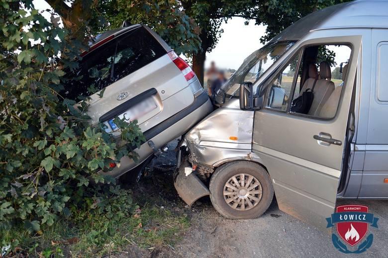 Wypadek pod Łowiczem. Dwie osoby zostały ranne [ZDJĘCIA]