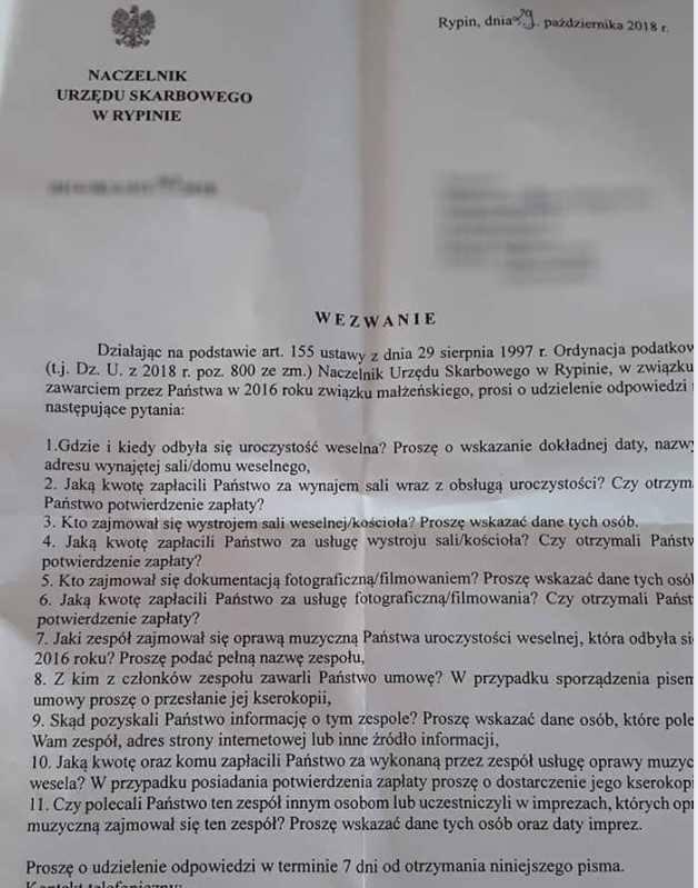 Naczelnik urzędu skarbowego napisał list do młodych małżonków z Rypina Zobaczcie!