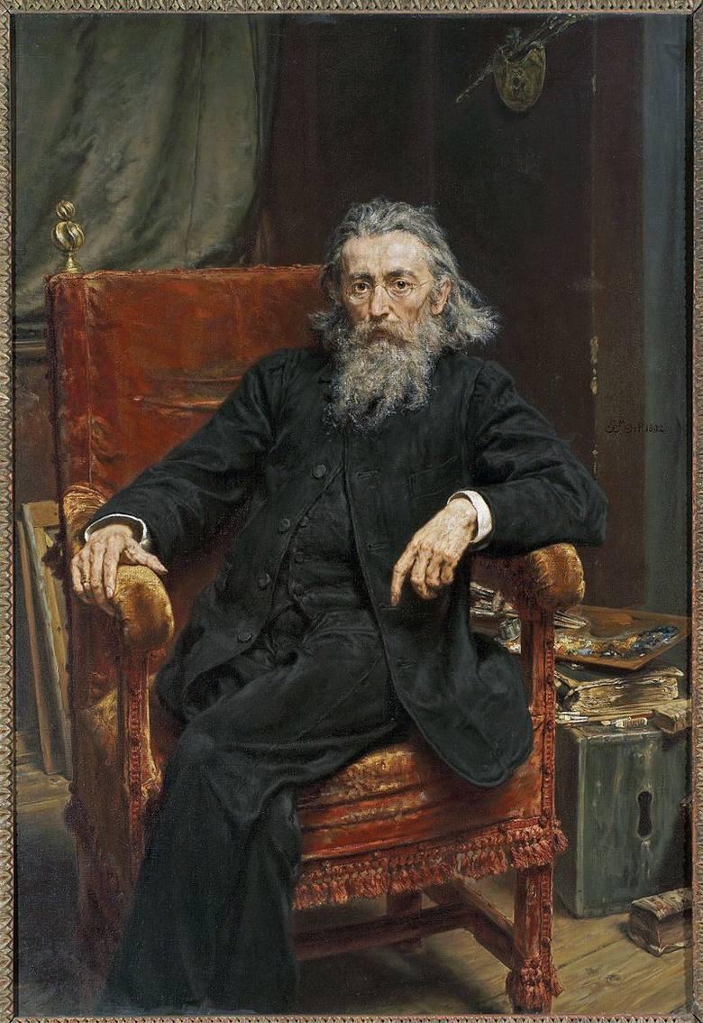 Franciszek Józef w krakowskiej pracowni Jana Matejki. Akwarela Juliusza Kossaka z 1881 r.