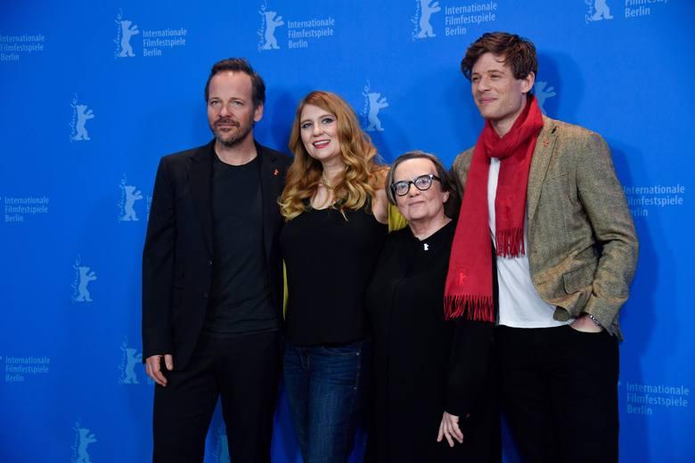 Aktor Peter Sarsgaard, producentka i scenarzystka Andrea Chalupa, reżyser Agnieszka Holland i aktor James Norton