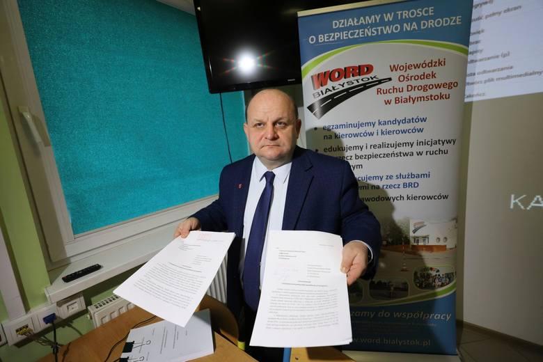 Przemysław Sarosiek, dyrektor WORD-u Białystok, złożył dziś zawiadomienie do prokuratury i CBA