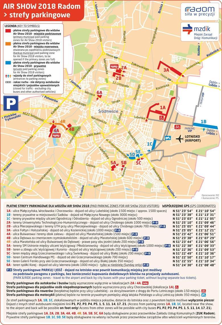 mapa air show radom 2018 dojazd parkingi