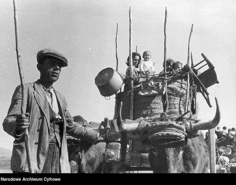 Grupa hiszpańskich uchodźców w okolicach Malagi (luty 1937)