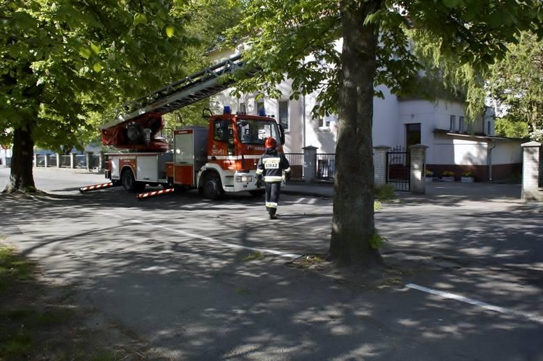 Zwisający konar drzewa zagrażał wchodzącym dzieciom i ich rodzicom do przedszkola przy ul. Wandy w Słupsku. Strażacy w kilka minut uporali się z drzewem.