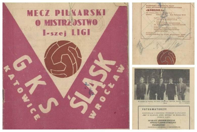 """Śląsk - GKS Katowice. Tak wyglądał program meczowy w 1965 r. (ZDJĘCIA)Do redakcji """"Gazety Wrocławskiej"""" trafiło kilka programów meczowych"""