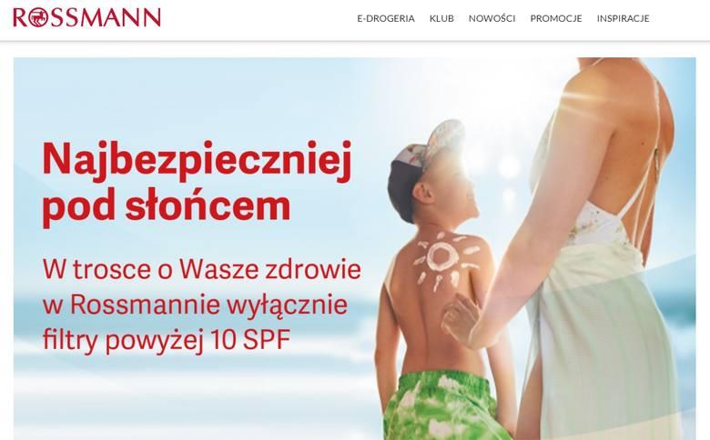 """Sieć drogerii Rossmann apeluje do klientów: """"Chroń się przed słońcem!"""" i wycofuje ze sprzedaży kremy do opalania z niskim filtrem."""