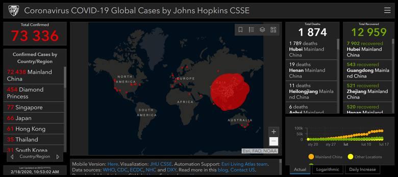 Mapa zasięgu epidemii chińskiego koronawirusa COVID-19 (wtorek, 18.02.20)