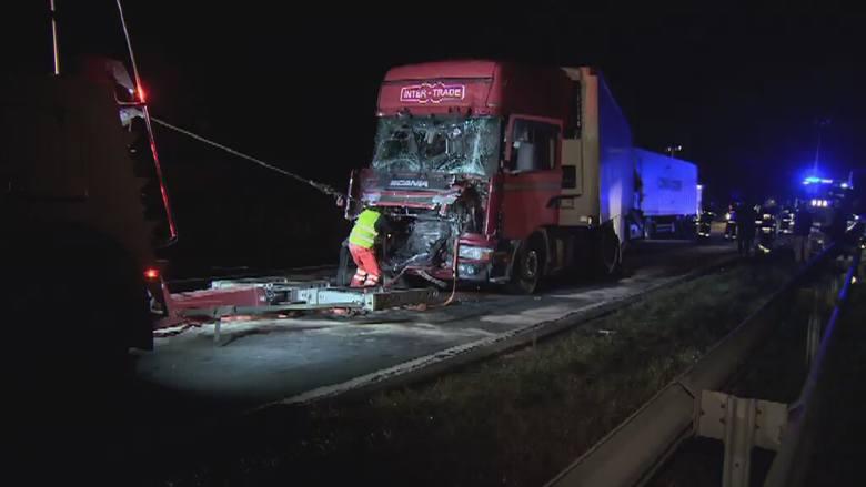 Karambol na drodze krajowej nr 1. Pod Dobryszycami zderzyły się cztery ciężarówki [wideo]
