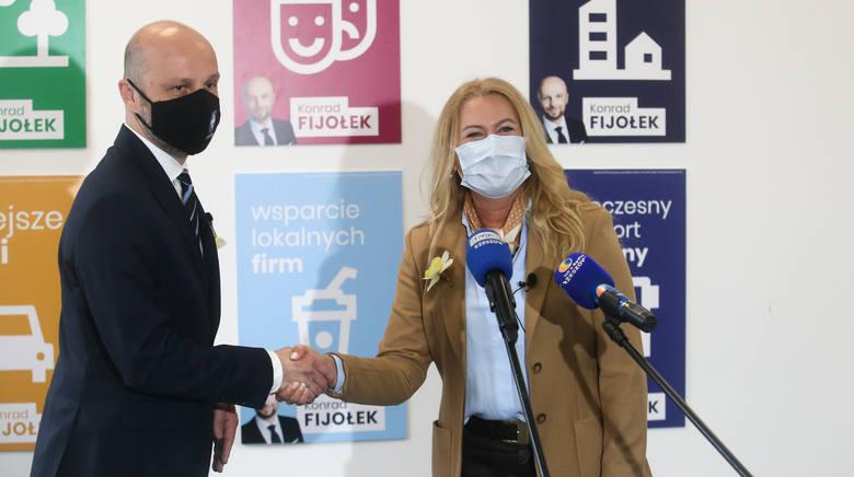 Konrad Fijołek ze wsparciem Elżbiety Łukacijewskiej w wyborach na prezydenta miasta Rzeszowa.