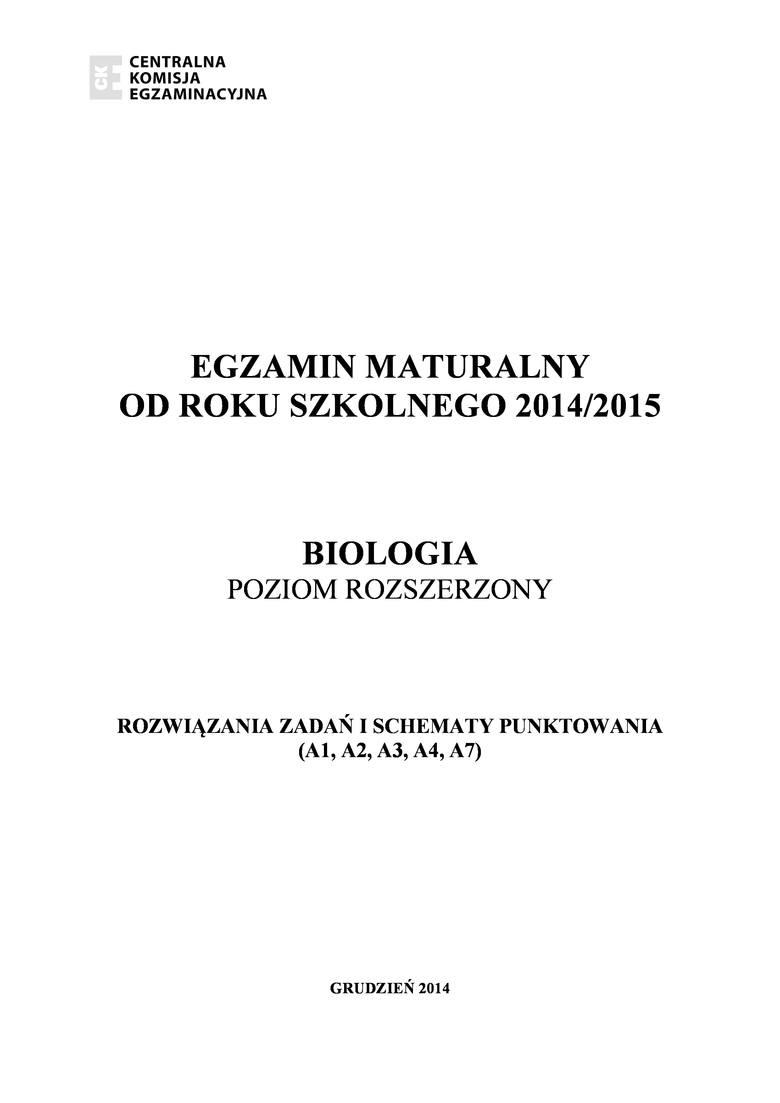 Próbna MATURA 2015 z biologii [KLUCZ ODPOWIEDZI]