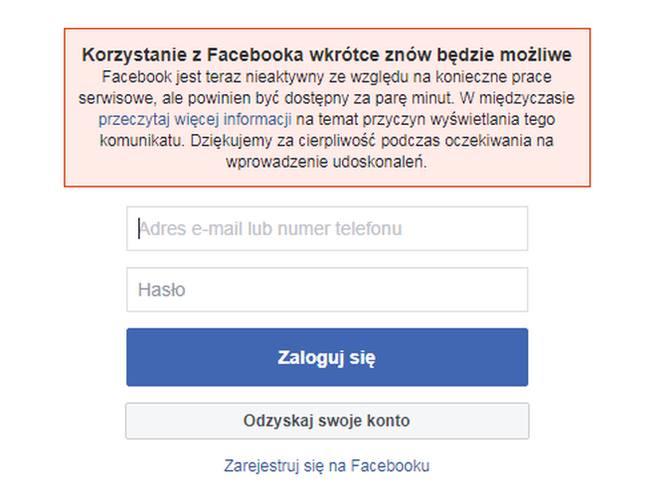 Awaria Facebooka. Nie działa Facebook 14 marca 2019. Co się stało? Kiedy usuną awarię Facebooka 14 03 2019