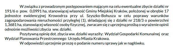 Fragment pisma UMK do Rady i Zarządu Dzielnicy VII Zwierzyniec