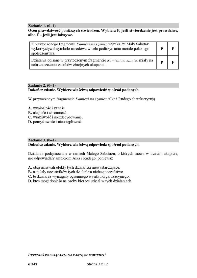 Zadanie 1.1.1 - P1.2 - FZadanie 2.DZadanie 3.A